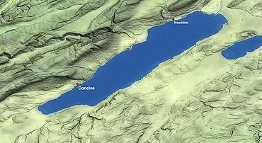 Karte: Lage der Seeufersiedlung von Concise
