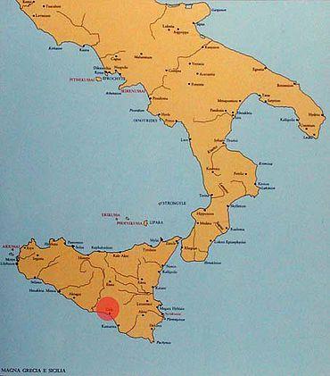 Süditalien und Sizilien in der Antike. Der rote Punkt markiert die Survey-Tätigkeit. (Karte: Bochumer Gela-Survey)