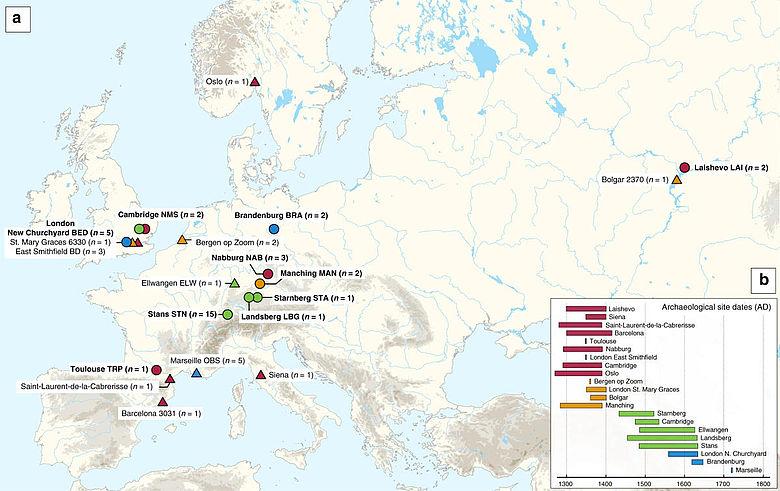 Karte archäologischer Stätten mit sequenzierten Pestgenomen