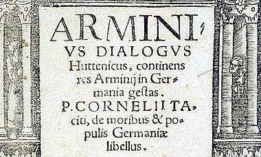 Titelblatt von: Arminius Dialogus Huttenicus. [...] Wittenberg 1538 (Staatsbibliothek Berlin)