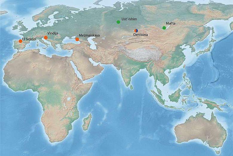 Übersichtskarte der Fundorte von Fossilien aus dem Pleistozän