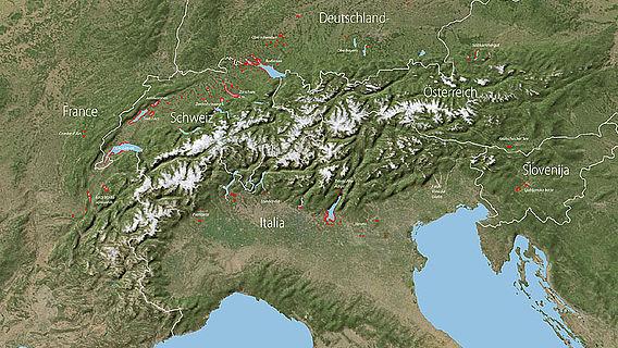 Pfahlbau-Fundstellen, bzw. Feuchtbodensiedlungen im Alpengebiet (Foto: BAK Schweiz)