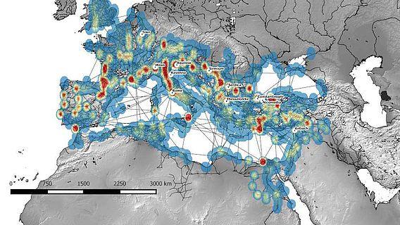 Netzwerkmodell der See-, Fluss- und Landrouten im Römischen Reich, 1.-5. Jh. n. Chr.