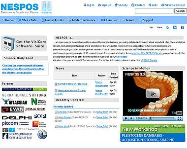 Startseite der Datenbank mit allen wichtigen Navigationshilfen.