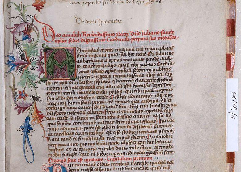Eines der Projekte im CHeST-Verbund: Die berühme Privatbibliothek des Nikolaus von Kues (Cusanus)
