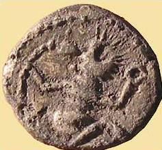 »Tanzendes Männlein«, keltische Silbermünze, Dm. ca. 1 cm