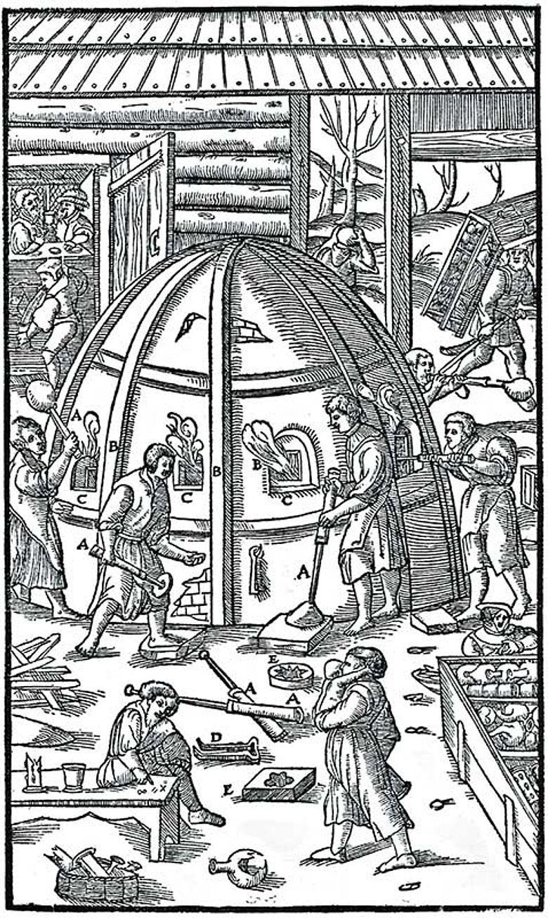 Agricola-Abbildung der frühen Glasherstellung