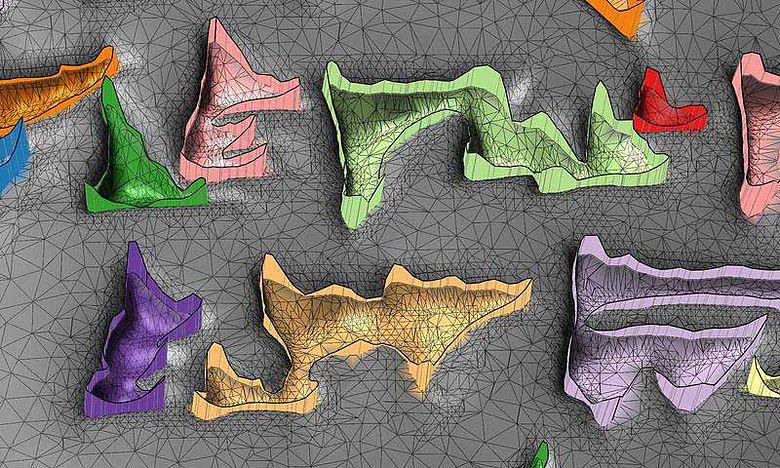 Die Grafik zeigt eine bearbeitete Keilschrift. Das Netz aus Dreiecken enspricht dem Relief der Keilschrifttafel-Oberfläche. Die Schriftzeichen wurden farbig markiert. (Grafik: Hubert Mara)