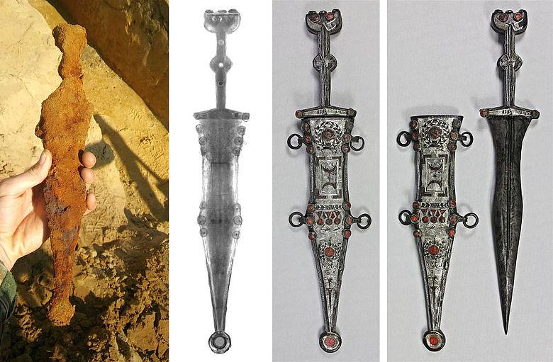 Der römische Dolch im Fundzustand, im Röntgenbild und nach der Restaurierung