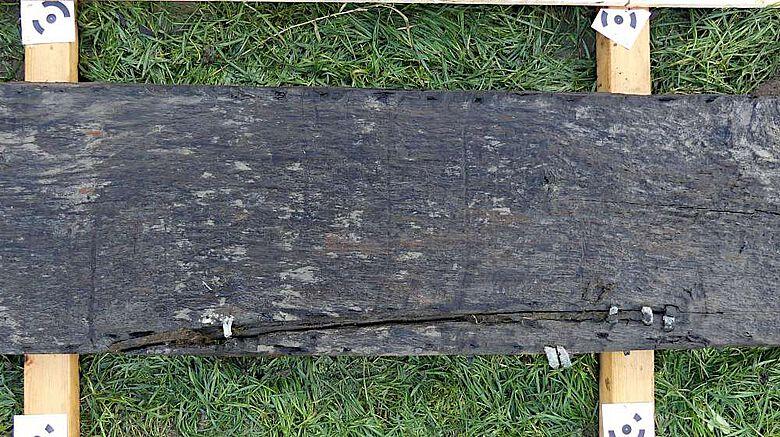 Die Lücken zwischen den aneinderstoßenden Planken sind mit Moos gedichtet