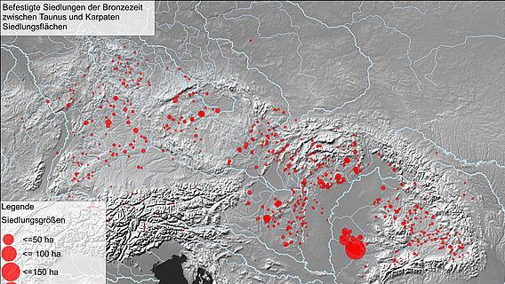 Verbreitungskarte befestigter Siedlungen der Bronzezeit