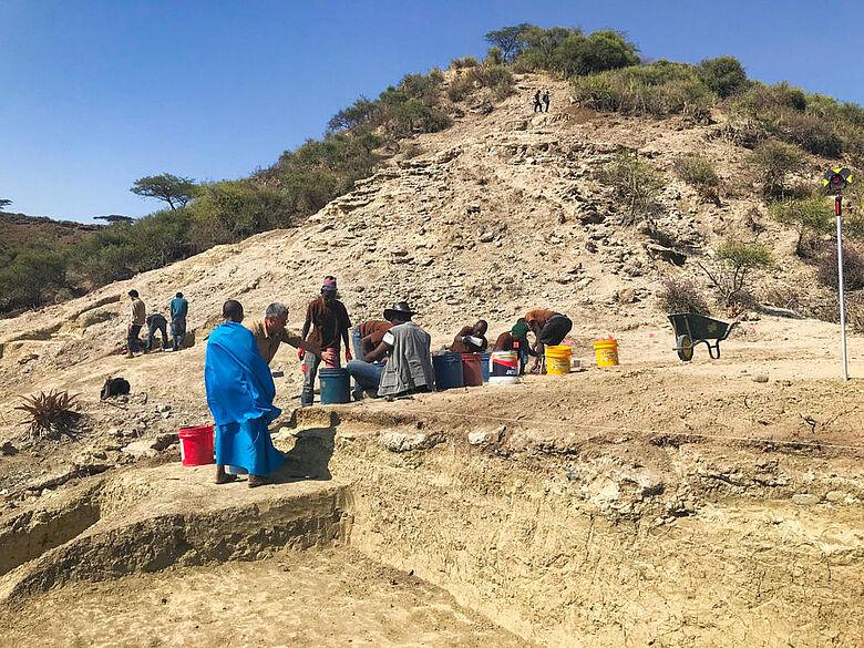 Grabung in 1,8 Mio. Jahre alten Schichten