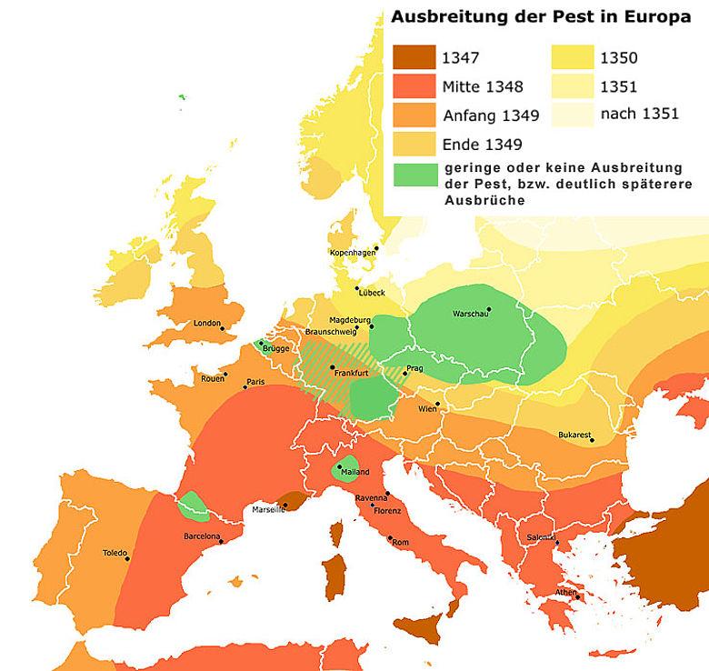 Ausbreitung der ersten Pestepidemie in Europa Mitte des 14. Jahrhunderts (Thilo Jordan nach Roger Zenner/ CC-by-sa-2.0-de)