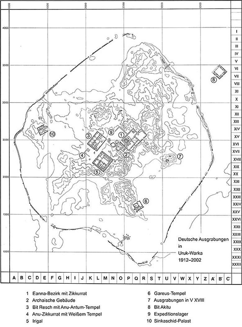 Grabungsplan Uruk-Warka