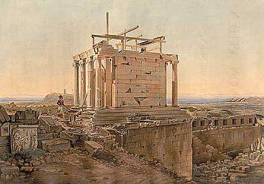 Wiederaufbau des Niketempels auf der Akropolis in Athen, Lithographie nach Christian Hansen aus der Publikation von Ludwig Ross (1839). (Foto: Robertinum, Archäologisches Museum der Universität Halle)