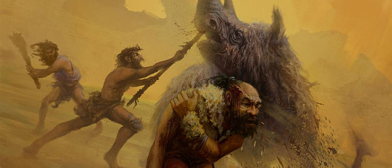 Illustration: Neandertaler vs. Wollhaarnashorn