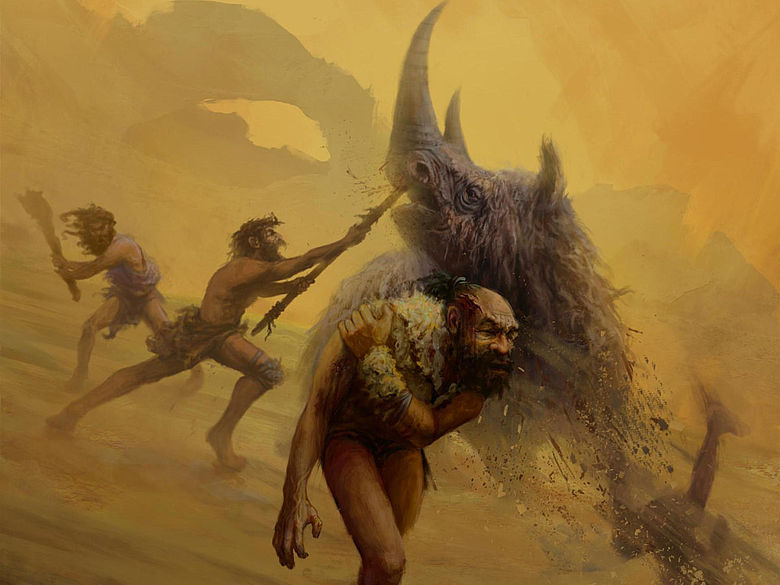 Illustration: Neandertaler vs. Wollhaarnashorn