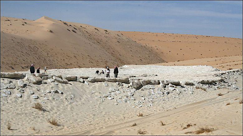 Forschende untersuchen den Alathar-See, der in einer Senke zwischen zwei Sanddünen in der westlichen Nefud-Wüste in Saudi-Arabien liegt