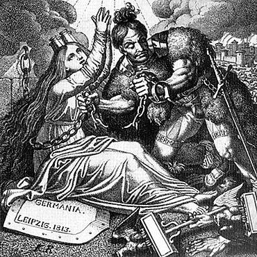 Karl Russ: Hermann zersprengt die Ketten von Germania. Leipzig, 1813. Radierung; 15,6 x 16,7 cm (Nürnberg, Germanisches Nationalmuseum)