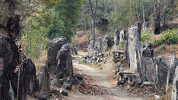 Steinsetzungen säumen die Wege aus den Dörfern zu den Feldern in Nagaland