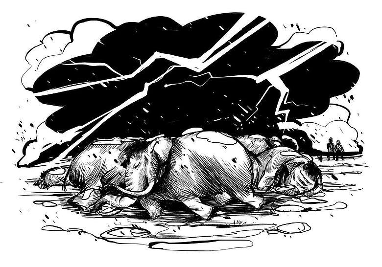Zeichnung Aussterben Megafauna
