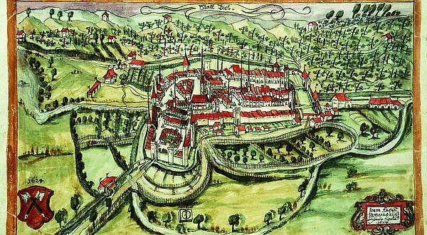 Eine Vedute (Ansicht) der Stadt Biel von Augustin Verresius, 1624
