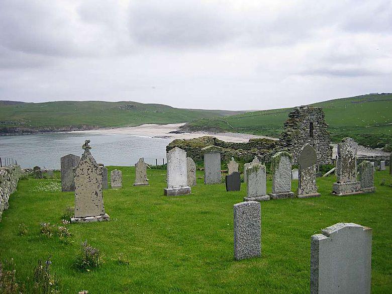 Die Kirche von Lunna Wick auf der Insel Unst, Shetland