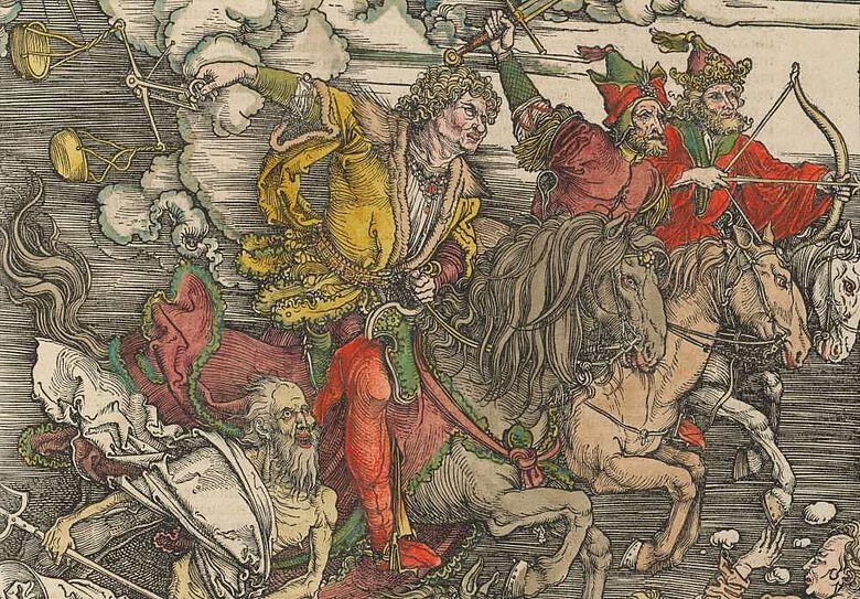 Ausschnitt aus: Albrecht Dürer, Die vier apokalyptischen Reiter.