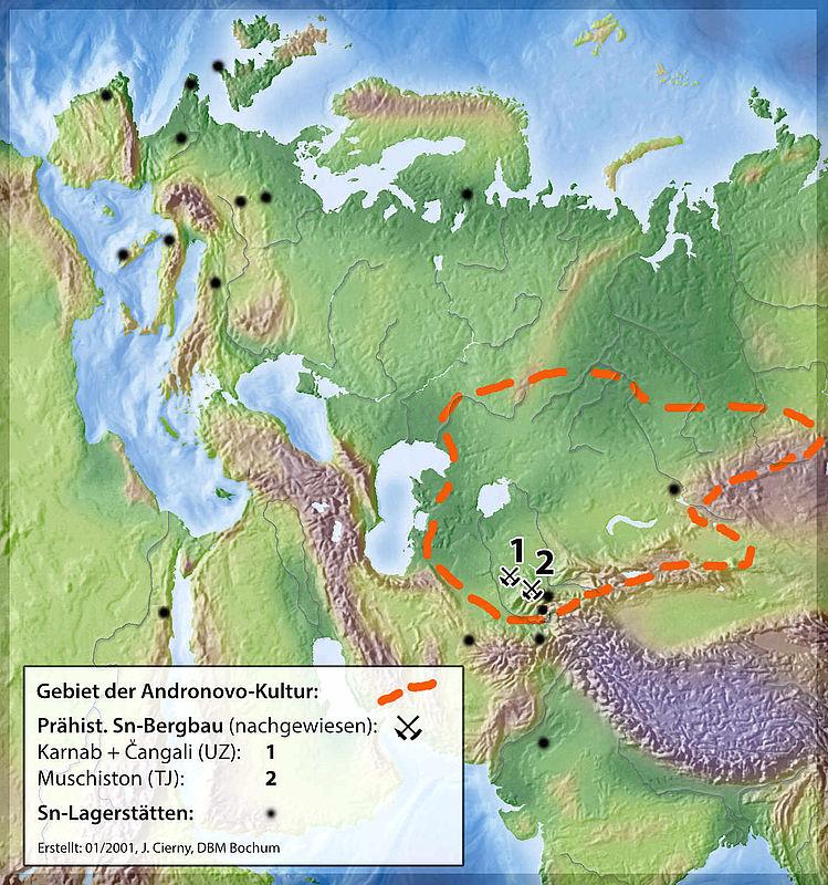 Karte: Prähistorischer Zinnbergbau
