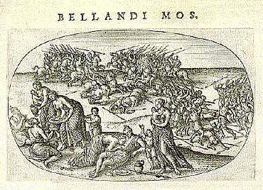 Kriegerische Germanen, aus: Abraham Ortelius, Aurei saeculi imago, 1596 (Universitätsbibliothek Mannheim)