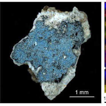 Foto und Raman-Mikroskopie-Bild einer Ägyptisch Blauen Scholle der Malschicht des Fragmentes aus der Kirche St. Peter ob Gratsch in Südtirol