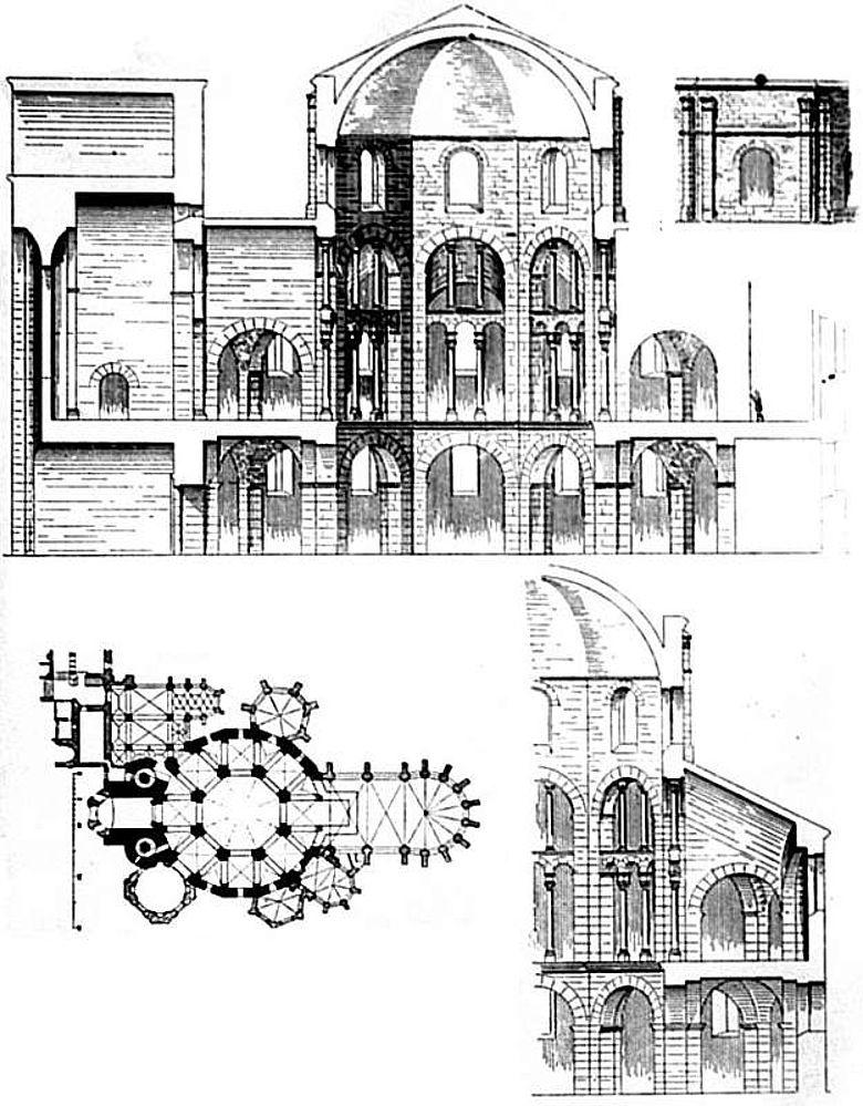Rekonstruierter Längsschnitt (oben) und Grundriss der karolingischen Pfalzkapelle in Aachen (Abb: Dehio 1887)