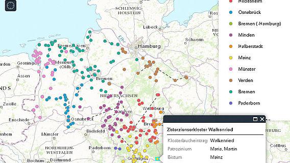 Kartierung Klöster Niedersachsens