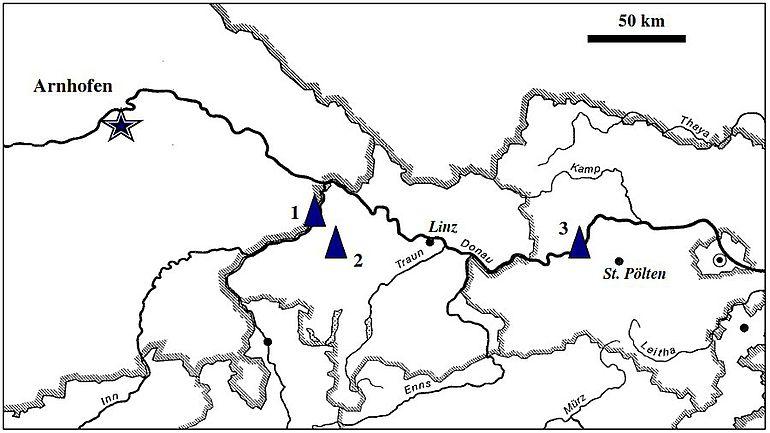 Abb. 2| Spätneolithische Silexdolche aus Arnhofener Plattenhornstein in Ober- und Niederösterreich. (Karte: A. Binsteiner)