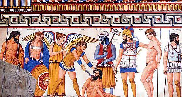Tomba François: Szene von der linken Wand des mittleren Raumes der Grabkammer