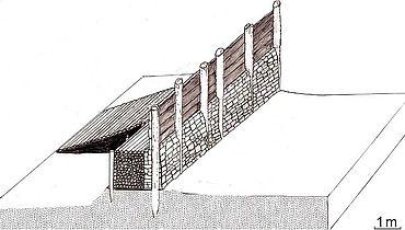 Rekonstruktionsversuch nach den jüngsten Ausgrabungsergebnissen. An der Nord- und Südseite der Schnippenburg fehlte der hier dargestellte Wehrgang. (Zeichnung: Stadt- und Kreisarchäologie Osnabrück)