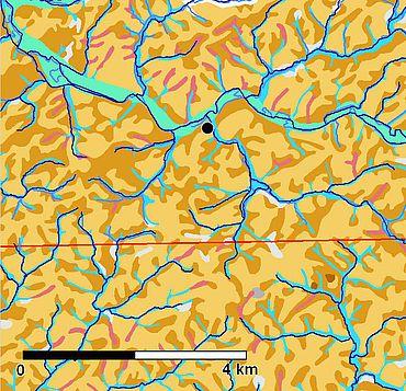 Abb. 8. Ausschnitt aus der Bodenkarte, Wipperfürth ist mit einem schwarzen Punkt markiert. Außerdem sind die modernen Wasserläufe in dunkelblau eingetragen (Bodenkarte: Geologischer Dienst, Nordrhein-Westfalen)