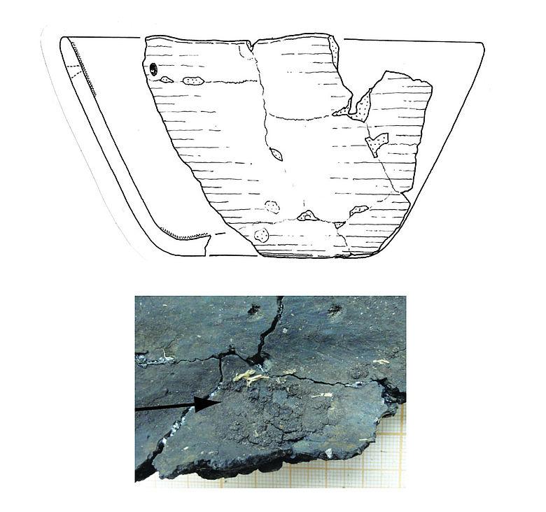 Zeichnung mesolithische Keramik und verkohlte Nahrungsreste