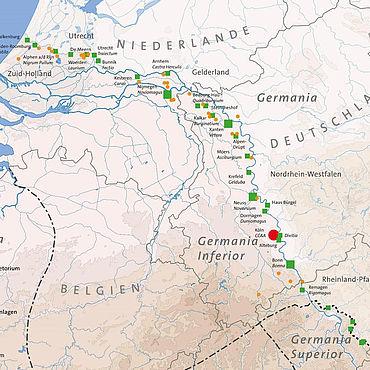 Karte des Niedergermanischen Limes