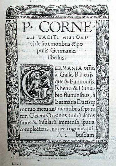 Anfangstext von: P. Cornelii Taciti De moribus et populis Germaniae libellus [...] 1519. (Lippische Landesbibliothek)