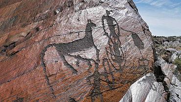 Felszeichnung in Zentralasien (Foto: Johannes Reckel)