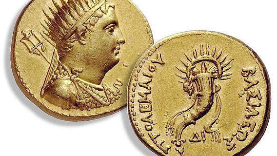 Goldmünze mit dem Porträt Ptomemaios' III.