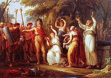 Angelika Kaufmann: Hermann von Thusnelda gekrönt. 1785. Öl auf Leinwand, 44,8x61,9 cm. (Tiroler Landesmuseum Ferdinandeum, Kunstgeschichtliche Sammlungen)