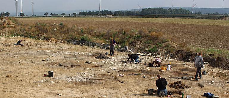 Überblicksfoto Ausgrabungsfläche