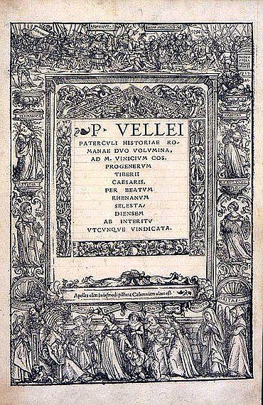 Titelblatt der Ausgabe von Velleius Paterculus, Historiae Romanae, 1520 (Staatsbibliothek Berlin)
