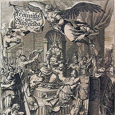Joachim von Sandrart, Titelkupfer aus Daniel Caspar von Lohensteins Großmüthiger Feldherr Arminius oder Herrmann, 1689/90 (Lippische Landesbibliothek)