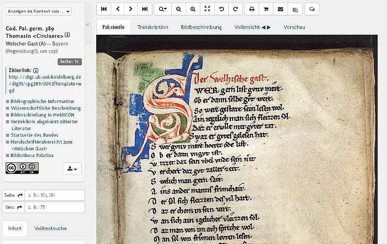 """Seite aus dem mittelalterlichen Benimmhandbuch """"Welscher Gast"""""""