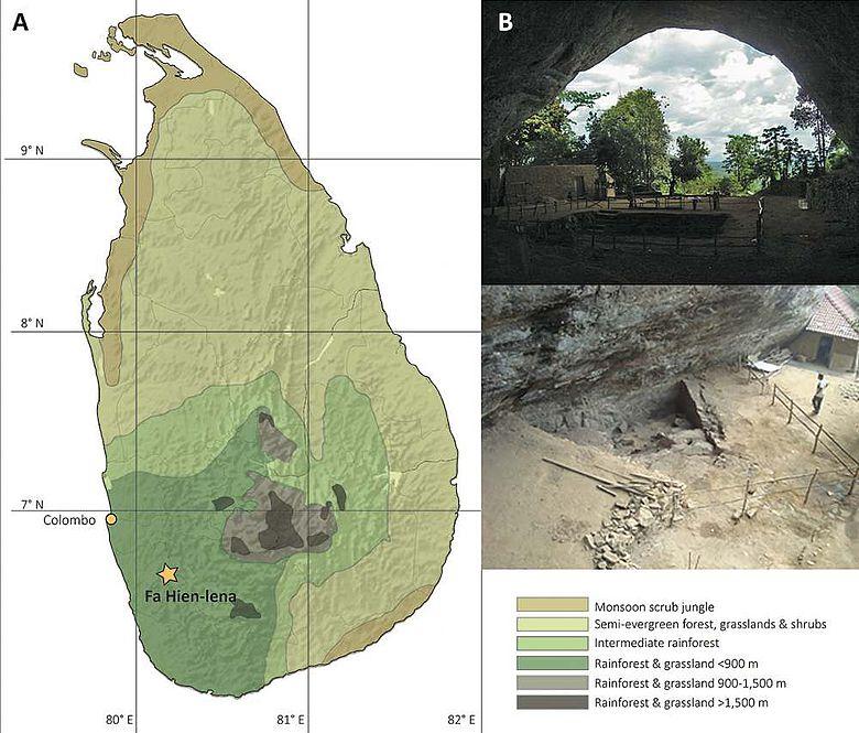 Karte Sri Lankas und die Ausgrabungsstätte Fa-Hien mit Ansicht der Höhle und dem Abschnitt, in dem die Materialien der Studie gewonnen wurden