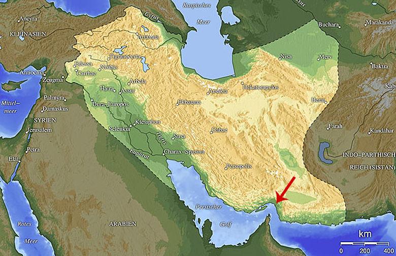 Ungefähre Ausdehnung des Parther-Reiches und die Lage der Festung (Grafik: GNU Free Documentation License, bearb. T.Jordan)