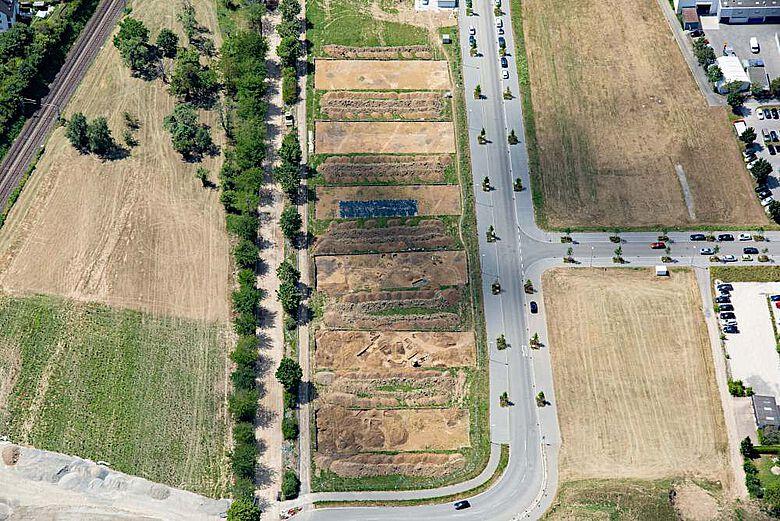Leinfelden-Echterdingen. Luftbild der nördlichen Grabungsflächen